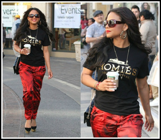 Christina-Milian-Spotted-Alice-Olivia-Arthur-Silk-Pants-Brian-Lichtenberg-Homies-Tee-Charlotte-Olympia-Dolly-Pumps-7